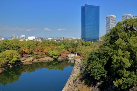 osaka castle: Osaka Castle moat and buildings Editorial