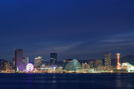 lightup: Night view of Kobe port Editorial