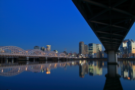 kita: Of the Yodo River at dusk and the Osaka Kita Stock Photo