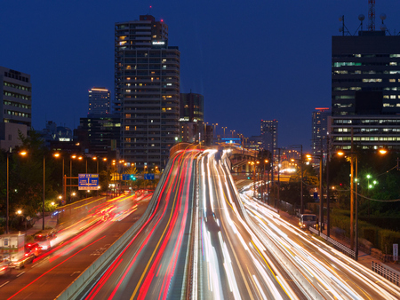 Night view of highway on Chuo-ku, Osaka-shi