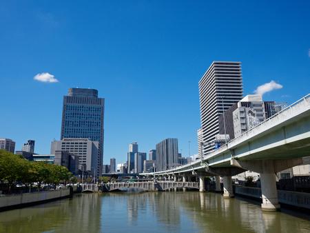 Osaka City Nakanoshima Oe-bridge and high-rise buildings