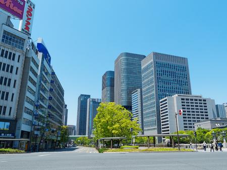 High-rise buildings seen from yodoyabashi intersection in Osaka