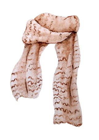 Watercolor wool knitted scarf. Hand painted isolated element inspired by hygge lifestyle and winter scandinavian style.