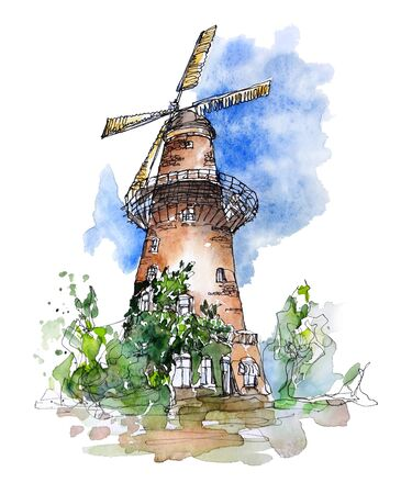 Watercolor sketch of a typical windmill in Netherlands. Hand painted composition in modern style. Perfect for cards, posters, travel design and covers.