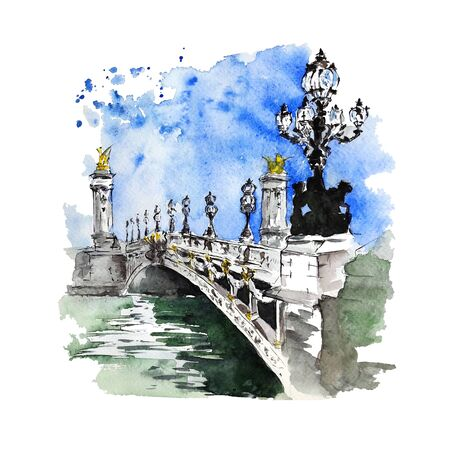Pont Alexandre III, Paris, France. Watercolor and ink sketch on white background. Hand painted bridge perfect for print, poster, card making and travel design. Stock fotó
