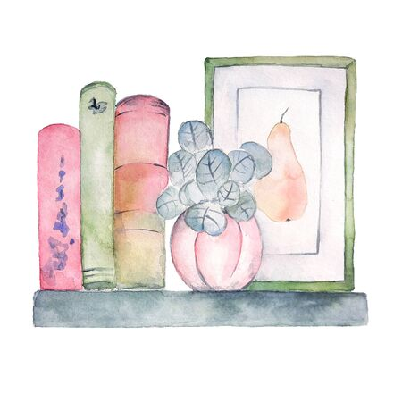 Watercolor shelf with books, frame and plant in pot. Hand painted cute interior illustration on white background. Feminine interior in pale colors.