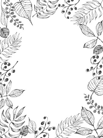 Ink hand drawn leaves and bravches. Artistic frame on white background. Template for greeting cards, invitation and backdrops in vintage syle.