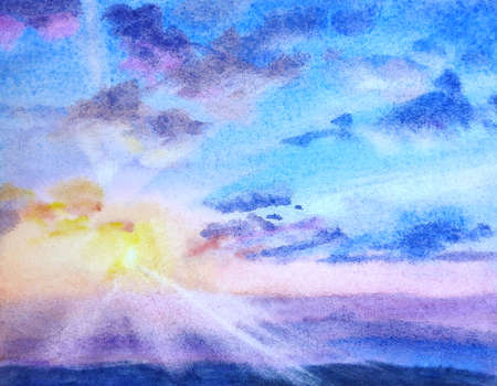 Watercolor on paper sunrise. Sky with clouds. Hand painted landscape. Stock Photo