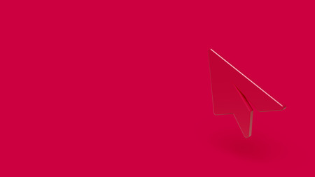 3d Icon of paper plane isolated on a red background.