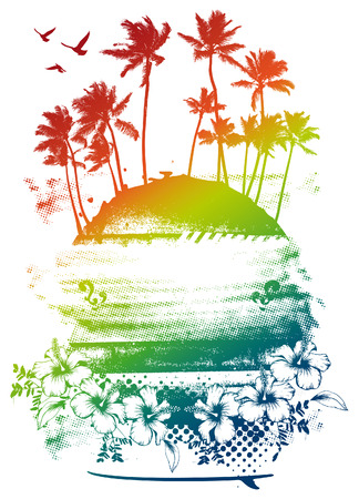 grunge beauty colorful summer scene with palms Vector