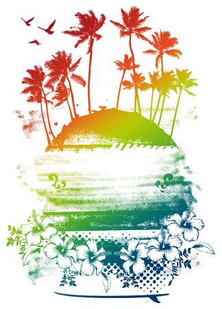 grunge schoonheid kleurrijke zomer scène met palmen Stock Illustratie