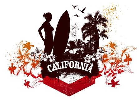 belleza de la mujer con la escena de surf de verano y tabla de surf