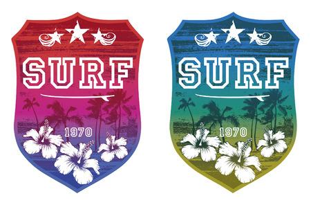 tabla de surf: época grunge escudos de colores de surf