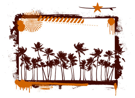 stencil summer frame with tropical palms Vector