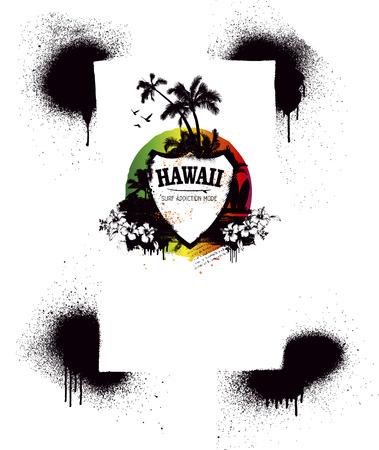 tabla de surf: escudo de surf del grunge con el esp�ritu de verano Vectores