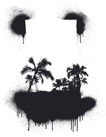 inky summer scene with palms Vector