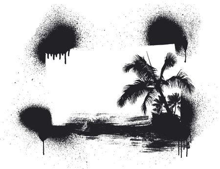 cancun: grunge summer scene with palms