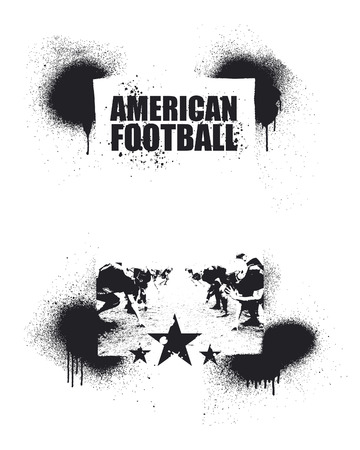 offensive: american football inky frame Illustration