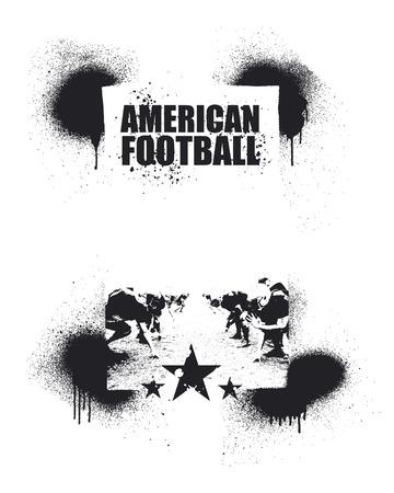 banni�re football: football am�ricain cadre d'encre Illustration