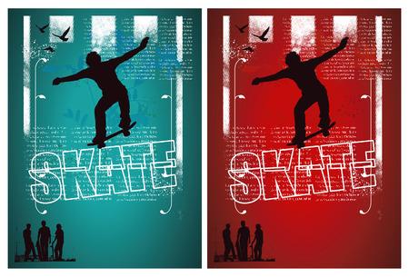 skateboard boy: grunge and vintage skate poster with rider