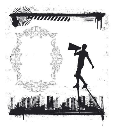 urban grunge scene with actor on stilts Vector