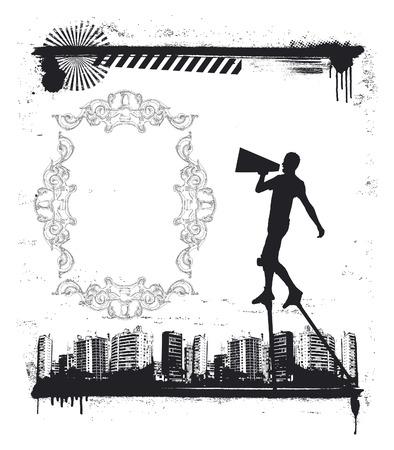 urban grunge: urban grunge scene with actor on stilts