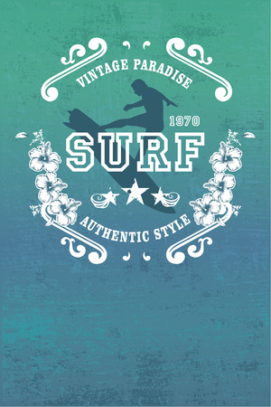 pirouette: vintage paradise surf poster with rider jumping