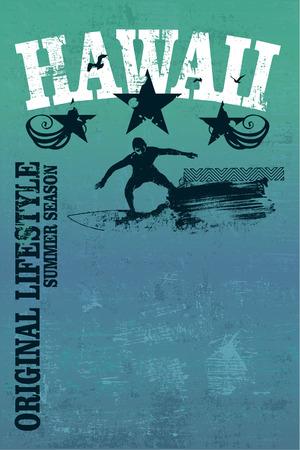 tabla de surf: hawaiano cartel del grunge de surf con el jinete y espacio de la copia