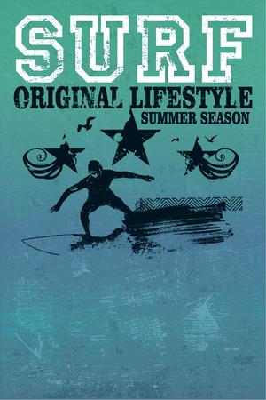 tabla de surf: cartel del grunge resaca del vintage