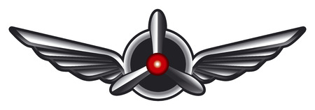 propellers: airplane emblem with wings and propeller Illustration