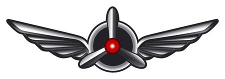 insignias: emblema avión con alas y hélices