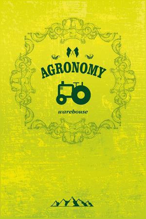 old tractor: agronomie poster met tractor en grunge achtergrond