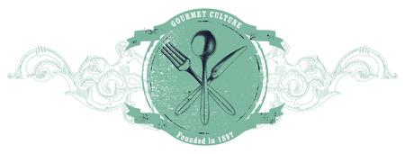 gourmet: vintage gourmet shield Illustration