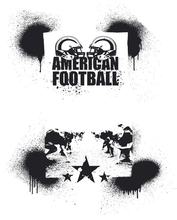 scrimmage: american football grunge poster with players