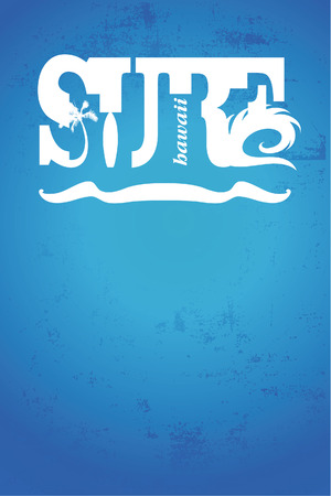tabla de surf: cartel de surf hawaiano con estilo vintage azul Vectores