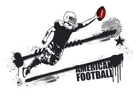 afl: american football player jumping with grunge banner