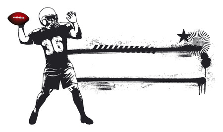 offensive: american football banner with player
