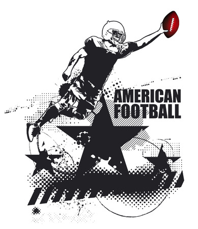 afl: american football grunge scene with player Illustration