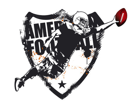 helmet football team: american football grunge shield with player jumping Illustration