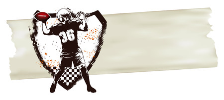 afl: american football player with shield and banner Illustration