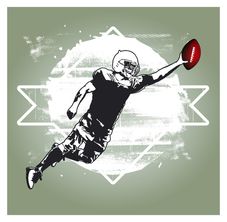 afl: american football player jumping with white grunge background