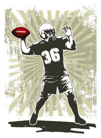 afl: american football player with stencil background