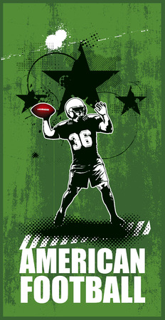 american football scene with player Illustration
