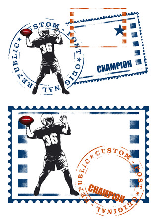 afl: american football seal with player Illustration