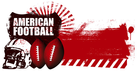 football fan: american football shield with grunge red banner
