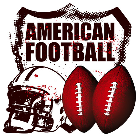 american football shield with helmet and balls Illustration