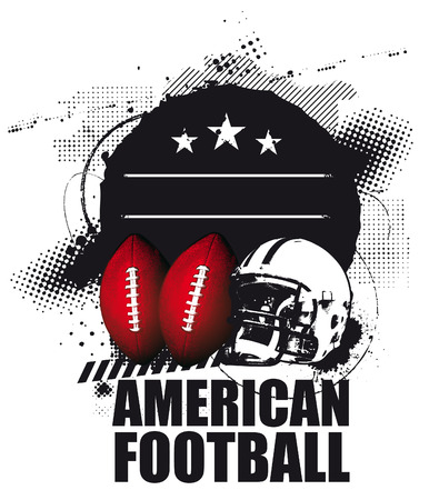 grunge american football shield Illustration