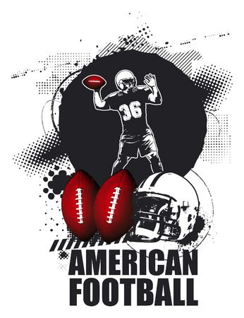 afl: grunge american football shield with player