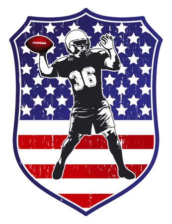 afl: united states shield with football player Illustration
