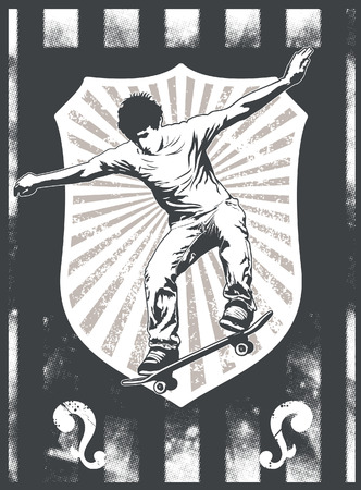 racing skates: grunge sport shield with skate rider